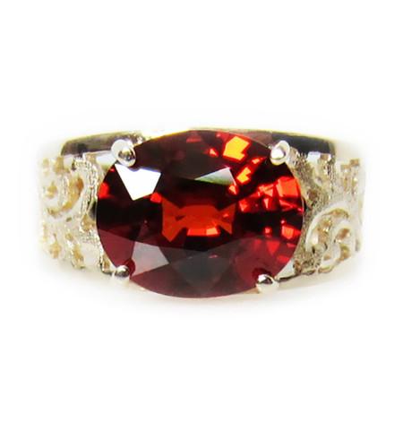 Garnet Baroque Gold Ring (side)