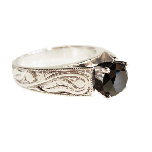 Diamond Leaf Engraved Band