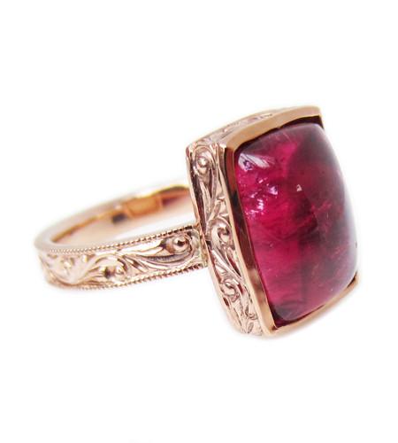 Pink Tourmaline Engraved Ring