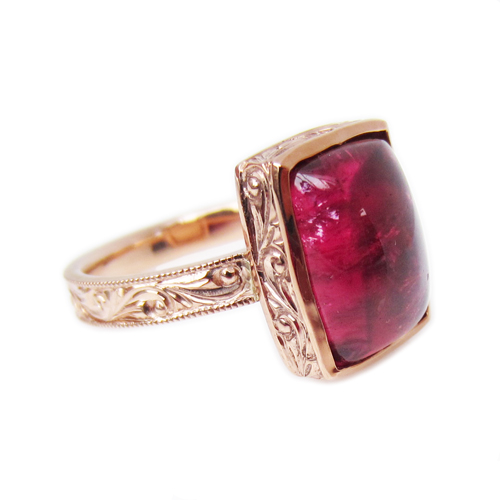 Pink Tourmaline Engraved Ring
