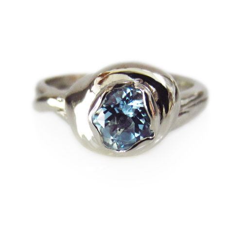 Aquamarine OOAK Lava Ring