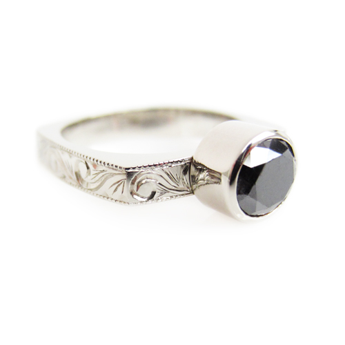 Black Diamond Engraved Engagement Ring